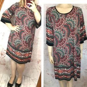 Floral print Tunic dress 3/4 sleeve Stretch PLUS